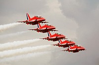 RAF Red Arrows Aerobatic Display Team Close Formation Flying