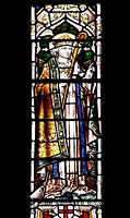 A stained glass window depicting Saint Egwyn Bishop of Worcester AD 693, Parish Church of St James the Great, Snitterfield, East Window