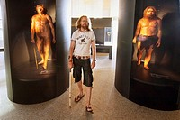Human Evolution Museum. At left ´Miguelon´, Homo heidelbergensis 500 000 years ago. Hominid Gallery.  Biological Evolution. Burgos. Castilla-Leon. Spa...