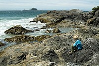 seven year old boy watches ocean waves on Flores Island, West Coast, British Columbia, Canada