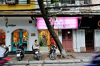 trendy shops around the Cathedral, Hanoi, Northern Vietnam, southeast asia