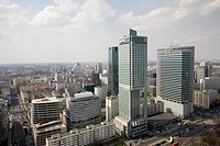 ´Intercontinental´ C and ´Warsaw Financial Center´ R  The view is from the Palace of Culture and Science, Warsaw Poland