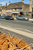Wicker baskets for sale at Burford, Oxfordshire Cotswolds, UK