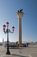 Venice, Veneto, Italy, The Lion Column In St. Mark´s Square
