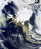 In this image taken on 19 April 2010 by ESA's Envisat satellite, a heavy plume of ash from the Eyjafjallajoekull Volcano in Iceland is seen travelling...