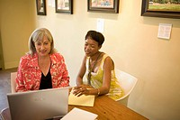 Women in gallery using laptop