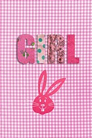 Gingham design with the word girl and a pink rabbit