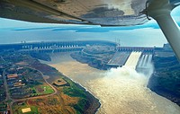 Itaipu hydroelectric dam. Border between Brazil and Paraguay. South America.