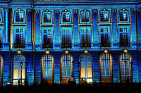 "Tribute to the history and the universe of Bordeaux wines, sound & light show ""The senses of wine"", immense projections of images on the facades of th..."