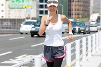 A Young Woman Jogging