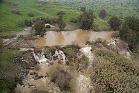 Aerial photograph of the Jordan river in the Upper Galilee