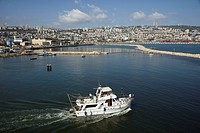 Aerial photograph of a boat in the port of Haifa