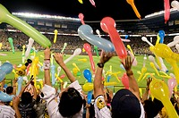 Spectators releasing balloons after the seventh inning, which is a tradition for Hanshin Tigers fans  Hanshin Tigers baseball game  Koshien stadium, J...