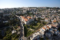 Aerial photograph of the monastery of the Carmelite order in Nazareth