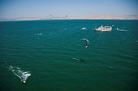 Aerial photograph of a kitesurfing turnament in the Sea of Galilee