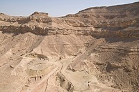 Aerial photograph of the Ramon Crater in the Negev desert