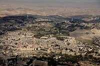 Aerial photograph of the old city of Jerusalem