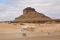 Photograph of an ancient castle in the Jordanian desert