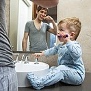 Man with toddler son brushing their teeth