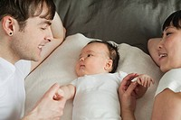 Young parents relaxing with baby (thumbnail)