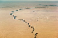 Aerial view of a desert river