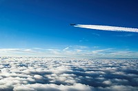 Contrails following jet plane