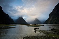 Milford Sound covered in mist