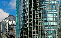 Potsdamerplatz  To the left Sony Center, and to the right Deutsche Bahn building Berlin  Germany