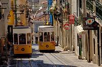 Lisbon, Elevador da Bica Bica cable car, Bairro Alto, Rua da Bica de Duarte Belo, Portugal  Europe.