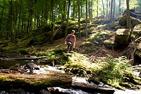 Hiker passing Karl´s Valley, Palatine Forest, Rhineland_Palentine, Germany