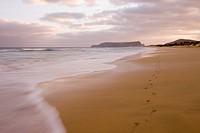 Footprints on Porto Santo Beach at Sunset, Vila Baleira, Porto Santo, near Madeira, Portugal