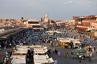 Djemaa el Fna Square and Souq Entrance, View from Terrace of Cafe Glacier, Marrakesh, Morocco, Africa