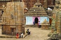 View at the court of Lingaraja Temple, Bhubaneshwar, Orissa, India, Asia