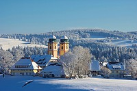 Winter´s day, View at St. Maergen, Church tower, Farmhouse, Black Forest, Baden_Wuerttemberg, Germany, Europe