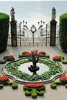 Fountain and gate, Villa Carlotta, Tremezzo, Lake Como, Lombardy, Italy