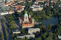 aerial photo of the new Town Hall, Maschpark, Hanover, Lower Saxony, Germany