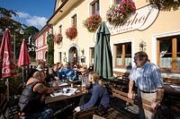 Guests in a biergarden, Zwettl an der Rodl, Muehlviertel, Upper Austria, Austria