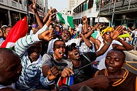 Football world cup final draw, 04.12.2009, fans celebrate the drawing of the first round, Long street, Capetown, Western Cape, South Africa, Africa