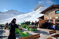 Gluenetta restaurant, ski area Corviglia, St. Moritz, Engadin, Grisons, Switzerland