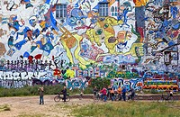 The famous giant Mural in Tacheless, symbol of the counter culture Berlin  Germany