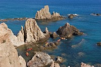 Canoes in ARRECIFE SIRENS, CABO DE GATA, ALMERIA, ANDALUCIA, SPAIN