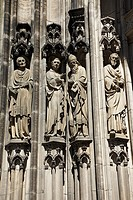 D-Muenster, Westphalia, Muensterland, North Rhine-Westphalia, Saint Lamberti Church, Late Gothic, Saint statues at the western portal