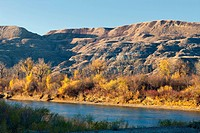 The Red Deer River running through The Badlands, East Coulee, Alberta, Canada.