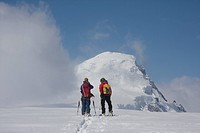 Men ski touring, Columbia Icefields, Jasper National Park, Alberta, Canada  CF see previous captions...