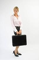 Eva with a briefcase