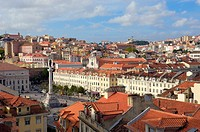 Lisbon, General view and Rossio square, Portugal  Europe.