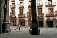 arches, square, Solsona, Catalonia, Spain.