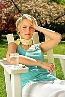 Woman suffering from summer minor illness
