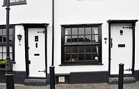 White walls and black window frames on Fishpool Street, St Albans, UK