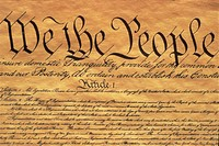 This is the Preamble to the U.S. Constitution. It starts with the phrase We The People and shows only some of the writing from the upper left hand cor...